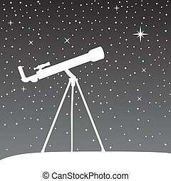 Silhouette of telescope on the night sky background.