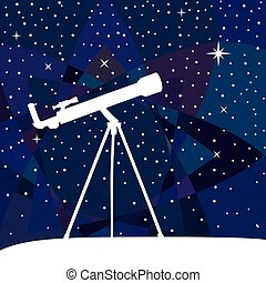 Silhouette of telescope on the night sky colorful background.