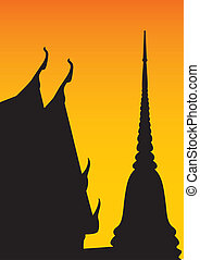 Silhouette of temple and pagoda