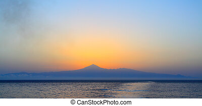 Silhouette of Tenerife at dawn, Canary Islands