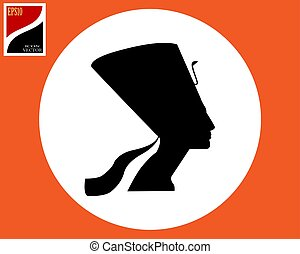 silhouette of the ancient Egyptian Queen Nefertiti black