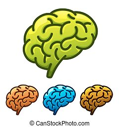 Silhouette of the brain green on a white background