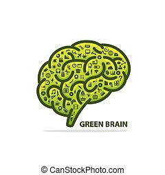 Silhouette of the brain green with icons
