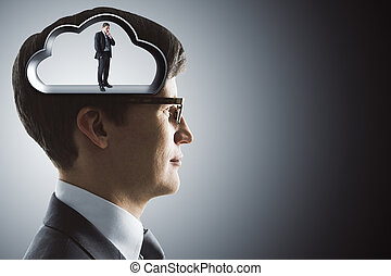 Silhouette of the brain in the head