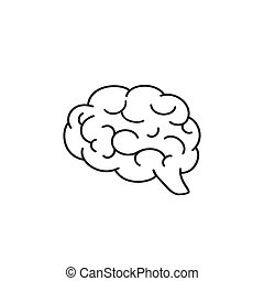 Silhouette of the brain on a white background, Brain icon line, Vector