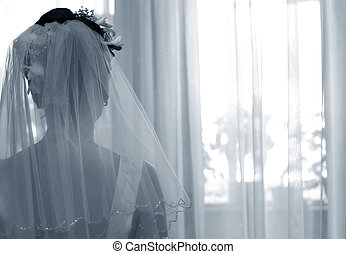 Silhouette of the bride