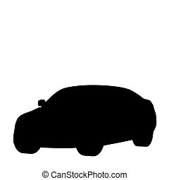 Silhouette of the car on a white background 3d