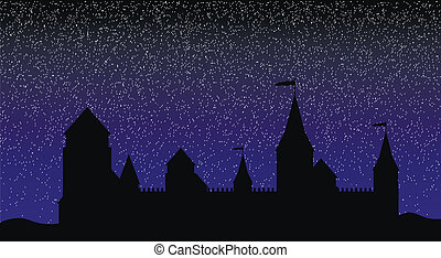 Silhouette of the castle at night