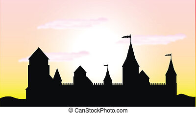 Black silhouette of the castle at sunrise - vector