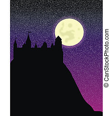 Silhouette of the castle on a high hill at night