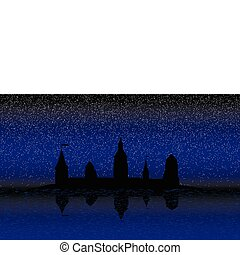 Silhouette of the castle on the island at night