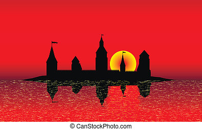 Silhouette of the castle on the island at sunset