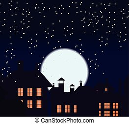 Silhouette of the city and night sky with stars and moon. Falling snow. Cat on the roof.