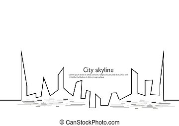 Silhouette of the city in a flat style. Modern urban landscape. Vector illustrations. City skyscrapers building office horizon. Continuous line drawing. Vector line. Geometric figures with the effect of motion