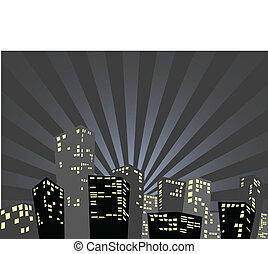 Silhouette of the city in the night