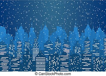 Silhouette of the city with cloudy night sky