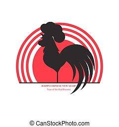 Silhouette of the cock on the background of the rising sun. Chinese New Year. Spring Festival.