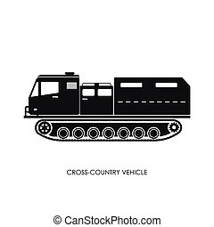 Silhouette of the cross-country vehicle on a white background. ATV track