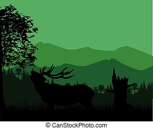 Silhouette of the deer in mountain