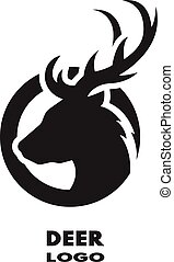 Silhouette of the deer, monochrome logo.