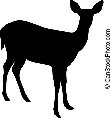 Silhouette of the deer on a white background