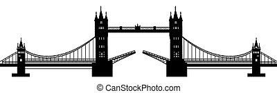 black silhouette of a drawbridge on a white background