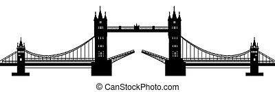 silhouette of the drawbridge - black silhouette of a...
