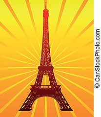 silhouette of the Eiffel Tower on the radiant orange...