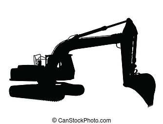 Silhouette of the excavator on white background, vector...