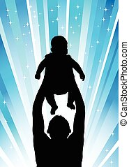 Silhouette of the father of  holding child blue
