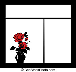silhouette of the flower on window