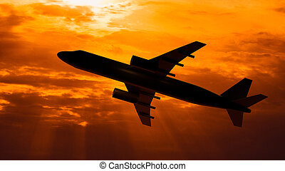 Silhouette of the flying plane on sunset background