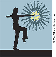 Silhouette of the girl engaged gymnastics on a blue background