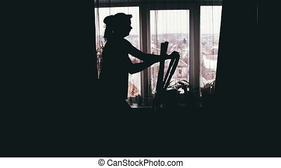 Silhouette of the Girl Engaged on the Cardio Trainer Cross Trainer at Home on Against the Window.
