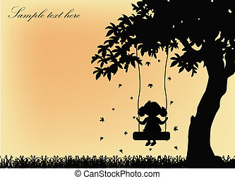 Silhouette of the girl on a swing - Black silhouette of the...