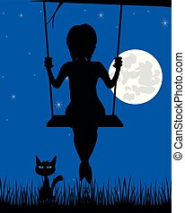 Silhouette of the girl on seesaw