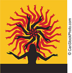 Silhouette of the girl standing on a background of the sun
