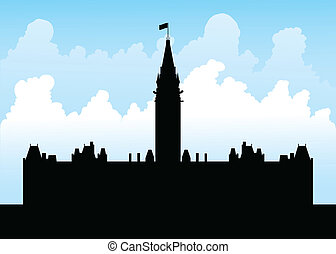 Parliament Hill, Ottawa - Silhouette of the government...