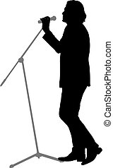 Silhouette of the guy beatbox with a microphone