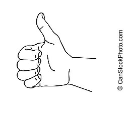 silhouette of the hand on white background