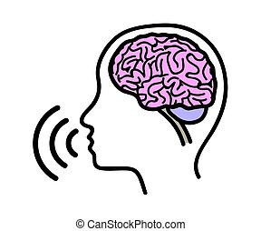 Silhouette of the head and brain on a white background. Speech. Silhouette. Vector