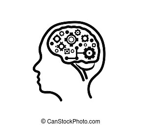 Silhouette of the head and brain on a white background. Technologies. Vector
