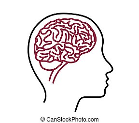 Silhouette of the head and brain on a white background. Vector