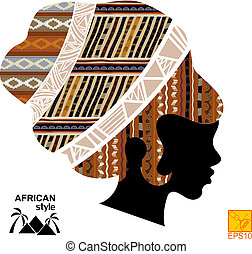 Silhouette of the head of an African girl