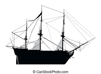 Silhouette of the HMS Victory - Computer generated 2D ...