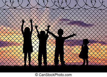 Silhouette of the hungry children of refugees - Concept of...