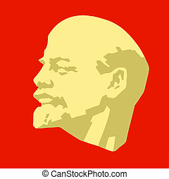 silhouette of the lenin on red background