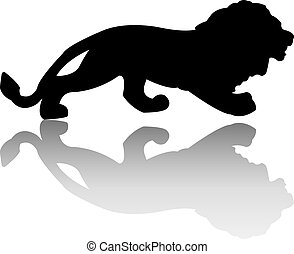 Silhouette of the lion is isolated on a white background. Vector