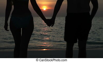 Silhouette of the man and woman, going to  sea on a sunset and kissing in waves
