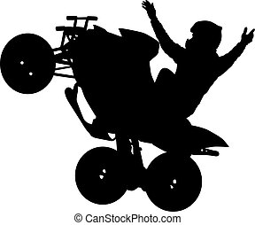 Silhouette of the motorcyclist on a quad bike, on a white...